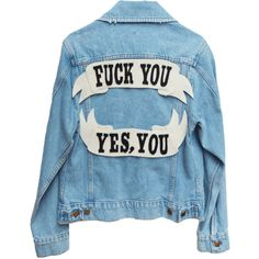 CUSTOM DENIM JACKET ($150) ❤ liked on Polyvore featuring outerwear, jackets, sweaters, patch jacket, blue jean jacket, patched jean jacket, felt jacket and denim jacket