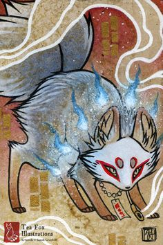 Smoke 6 / Kitsune Fox Yokai Magic / by TeaFoxIllustrations on Etsy, $6.00