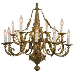 Louie XVI Style Cast Bronze 12 Light Chandelier | 1stdibs.com, 1930s, $3,200