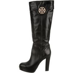 Pre-owned Tory Burch Platform Leather Boots ($175) ❤ liked on Polyvore featuring shoes, boots, black, black leather knee high boots, black zipper boots, zipper boots, knee high platform boots and leather boots