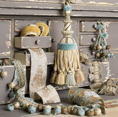 The Charles Faudree Passementerie Trimmings collection: Tremblay-Oasis, Nuage-Silver Lining, Peluche-Porcelain, Sorbonne-Oasis, Nuage-Aqua, Yves-Greystone and Pompidou-Oasis. #charlesfaudree #stroheim #trimmings