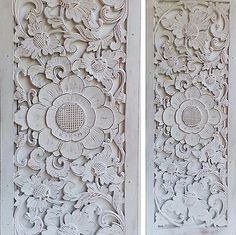 White Wash Sunflower Wood Shabby Chic Wall Art Hanging Panel Carving Bali 100Cm