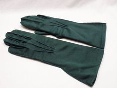 Vintage Forest Green Dress Gloves Flared Cuff Medium Length Cotton Blend 40-50s #Unbranded #Everyday