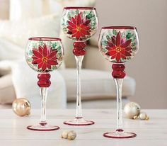 Hand Painted Poinsettia Glass Candle Holders - 3 Piece Various Sized Set Wine Glass Candle Holder, Candle Holder Set, Glass Candle Holders, Candle Set, Votive Candles, Christmas Candle Holders, Holiday Candles, Led Fairy Lights, Painted Wine Glasses