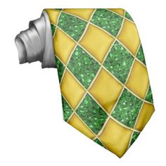 Gold Diamonds/Green Sequins Pattern Mardi Gras Tie
