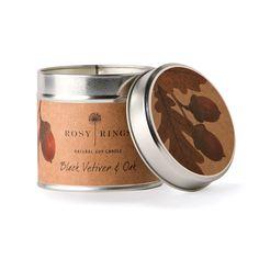 Soy Candle Tin Black Vetiver & Oak
