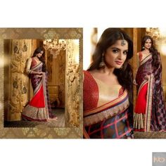 Mehar In Black & Red Color Designer Party Wear Party Wear Sarees, Red Color, Bollywood, Sari, Pretty, Cotton, How To Wear, Stuff To Buy, Collection