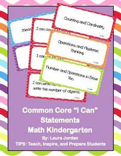 """These are Common Core """"I Can"""" statements for kindergarten grade in fun and bright colors. There are three statements per page which makes it easy . New Classroom, Kindergarten Classroom, Classroom Ideas, 5th Grade Ela, Core I, I Can Statements, Common Core Standards, Teacher Resources, Teaching Ideas"""