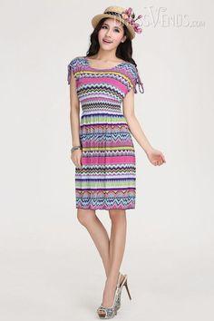 Delicate Bohemian Large Size Nipped Waists Dress