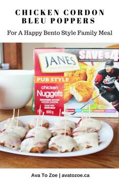 Chicken Cordon Bleu Poppers For A Happy Bento Style Family Meal My Favorite Food, Favorite Recipes, New Recipes, Cooking Recipes, Clear Plates, Canadian Food, Chicken Cordon Bleu, Chicken Nuggets, Appetizer Dips