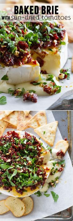 If you are looking for a show-stopping appetizer that only takes minutes to make, this Baked Brie Recipe with Sun-Dried Tomatoes is your answer! Melty cheese is topped with a mixture of sun-dried tomatoes, garlic and parsley in this addictive starter. Snacks Für Party, Appetizers For Party, Appetizer Recipes, Cheese Appetizers, Baked Brie Appetizer, Tailgate Appetizers, Tapas Recipes, Cheese Snacks, Healthy Appetizers