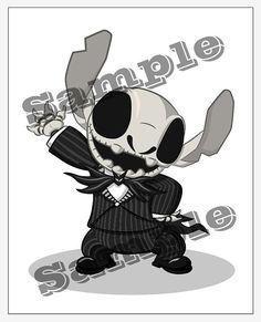 Character Fusion Stitch and Jack Skellington by CameronCarrollArt, $10.00