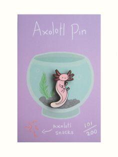 Axolotl Enamel Pin by HannahHitchman on Etsy Axolotl, Black Metal, Clear Epoxy Resin, Jacket Pins, Kawaii, Cool Pins, Little Pets, Pin And Patches, Cool Socks