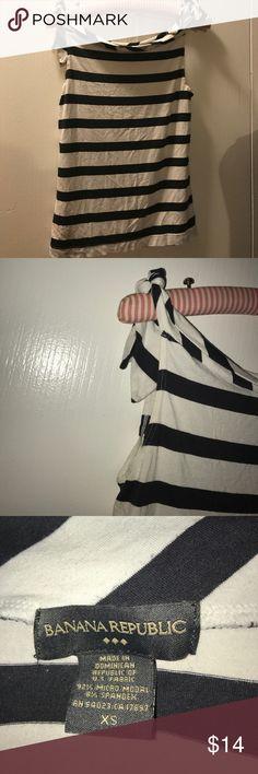 White & Black striped Banana Republic top White/ Black striped top. Ties at the top of the shoulders. Super soft and sleeveless.         (8) Banana Republic Tops Tank Tops