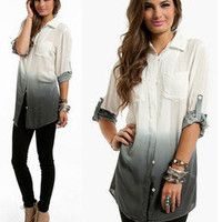NWT OMBRE GREY POCKET WHITE BUTTON UP BLOUSE 3/4 Sleeve Top Blouse LONG TUNIC