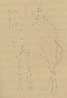 blinde contourtekening kameel / blind contour drawing camel Blind Contour Drawing, Pictures To Draw, Camel, Drawings, Art, Art Background, Kunst, Camels, Sketches