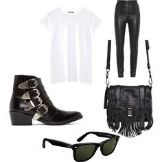 Rock chik by julieebskov on Polyvore featuring polyvore, fashion, style, Balmain, Givenchy, Toga, Proenza Schouler and Ray-Ban