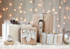 boxwood clippings_gift wrap, natural chic - utilized items on hand and added sparkle with spray paint
