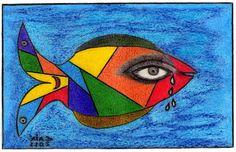 Nome do Artista: CAIÁ /  Nome da OBRA: PEIXE CHORÃO /  Técnica: Pintura com Lápis de Cor sobre Papel Canson A4  /  Contato; (84)9945-1024 / Parnamirim / RN / Brasil. OBS. Vendido