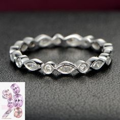 $499: Marquise/Round Diamond Wedding Band Eternity Anniversary Ring 14K White Gold Bezel