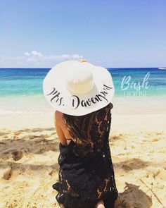 1f9bfcc301c Honeymoon Beach Hat - Floppy Hat - Mrs. Beach Hat - Personalized Floppy Hat  - Personalized Bride Gift - Bridesmaid Gift - Bridal Party Hat