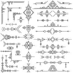 Коллекция векторных геометрической линейных элементов художественного дизайна Бесплатные векторы
