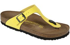 Birkenstock Gizeh Buttercup Birko-Flor Here's the perfect thong sandal for those hot summer days! Lightweight, gracefully styled and adjustable for a good fit, it makes a great travel sandal. #birkenstock #birkenstockexpress.com  $90