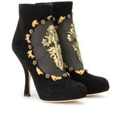 Dolce & Gabbana  BESTICKTE ANKLE-BOOTS seen @ www.mytheresa.com