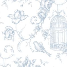 "Found it at Wayfair - Grand Chateau 32.7' x 20.5"" Birdcage Floral Wallpaper"
