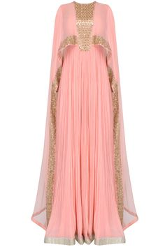 Pink pleated anarkali set with attached mirror work sheer cape available only at Pernia's Pop Up Shop. Abaya Fashion, Muslim Fashion, Modest Fashion, Fashion Dresses, Mode Abaya, Mode Hijab, Indian Dresses, Indian Outfits, African Fashion