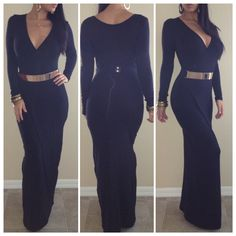 BLACK Wrap Long Sleeve Maxi Dress - ALL - Dresses