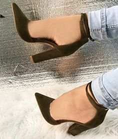 Taupe Faux Suede Chunky Pointed Toe 'Shelly' Heels