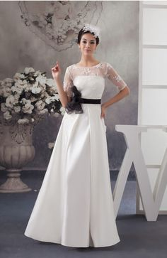 Lace Bridesmaid Dress with Sleeves Sheer Summer Chic Winter A line Garden - UWDress.com: Cut off bottom