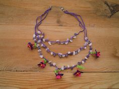 crochet flower necklace purple pink flower turkish by PashaBodrum