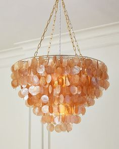 """#ONLYATNM Only Here. Only Ours. Exclusively for You. Adds just the right amount of shimmer without going over the top. Handcrafted of capiz shells and metal. Uses two 60-watt bulbs. 4.5""""Dia. ceiling c"""