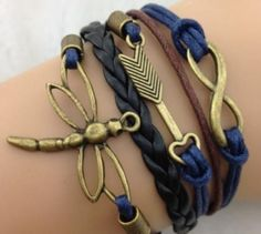 Navy and Brown Designer Multi-strand Cord Bracelet, Men, Womens, Boys or Girls Bracelet. Bracelet- Infinity, Arrow and Dragonfly Bracelet in Bronze - Wax Cords and Leather Braid Bracelet Leather Charm Bracelets, Stackable Bracelets, Cord Bracelets, Infinity Bracelets, Bracelet Men, Bangles, Fashion Bracelets, Fashion Jewelry, Lunette Ray Ban