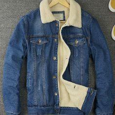 Retro-Mens-Fur-Lining-Jean-Fleece-Jacket-Single-breasted-Denim-Coat-Outwear-New