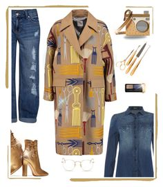 """""""gold and blue denim"""" by katymill ❤ liked on Polyvore featuring Replay, Gianvito Rossi, Stella Jean, Ray-Ban, Level 99, Charlotte Olympia, Guerlain, Gorham, gold and denim"""
