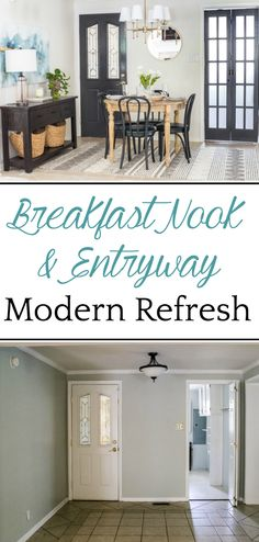 Breakfast Nook Refresh Makeover | How a small, oddly laid out breakfast nook entryway got a makeover to maximize on storage, function, traffic flow, and modern style. #breakfastnook #makeover