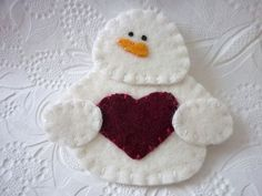 Felt Snowman Ornament  Felted Wool Felt by pennysbykristie on Etsy, by lynnette