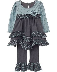 "GORGEOUS turquoise charcoal grey ""Caspian Sea"" knit top & pants 2pc set for your baby girl by boutique brand Isobella & Chloe.  (sz. 12m - 24m)"