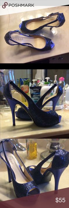 GUESS GLITTER HEELS! Size 6.5! Worn twice!! Gorgeous shoe!!! Just cleaning out closet! Guess Shoes Heels