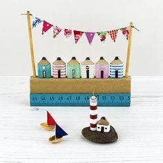 Miniature Beach Huts Pencil Beach Huts Seaside Art Wooden