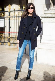 Boot and Jeans Combinations for Fall via @WhoWhatWear (POINTED TOE BOOTS++CUFFED JEANS)