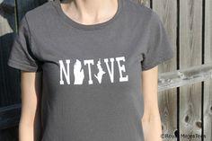 Michigan Native Shirt by RoyalMajesTees on Etsy, $16.00 #michigan #shirt #native #womens #tshirt #teeshirt #mitten #MI #handmade #etsy #home #state #shirt #love #upper #lower #peninsula #charcoal #grey #gray #white #fashion #apparel #clothing