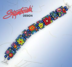 Summer Blossoms Peyote Carrier Bead Bracelet Pattern