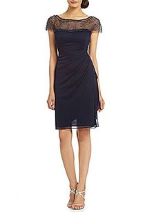 Shop for Beaded-Yoke Chiffon Dress by R & M Richards at ShopStyle. Now for $74.25.