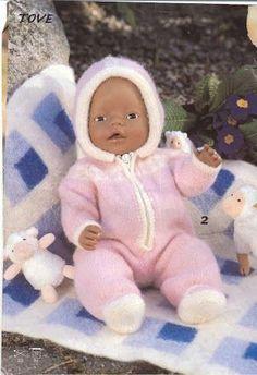 Strikk til Baby Born Knitting Dolls Clothes, Knitted Dolls, Doll Clothes, Reborn Dolls, Reborn Babies, Baby Patterns, Doll Patterns, Baby Born Clothes, Cute Baby Dolls