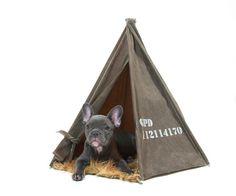 Dark Tan Waxed Canvas Field Tent by GPD 24 inch door gopetdesign, $250.00