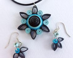 Paper Quilled Necklace, Paper Quilled Earrings, Paper Quilling Jewelry, Quilled Jewelry, Paper Quilling